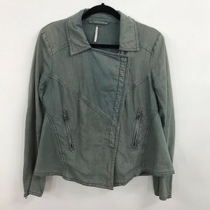 Free People | Distressed Light Army Green Jacket